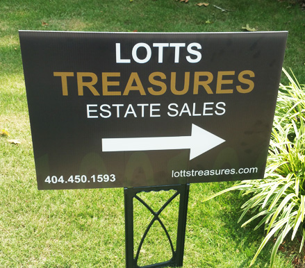 Atlanta estate sale company sign gold and white on black